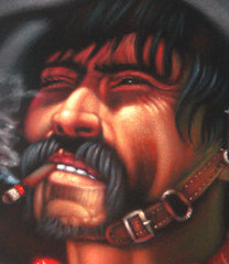 "Bandit, Mexican Bandito, Original Oil Painting on Black Velvet by Alfredo Rodriguez ""ARGO"" - #A32"