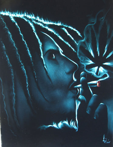 "Bob Marley Smoking,  Original Oil Painting on Black Velvet by Enrique Felix , ""Felix"" - #F78"