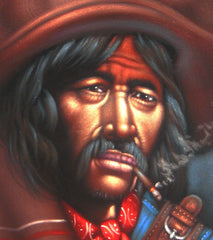 "Bandit, Mexican Bandito, Original Oil Painting on Black Velvet by Alfredo Rodriguez ""ARGO"" - #A33"