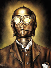 "C3PO as Gentleman vintage photo ; Star Wars Fan Art ; Original Oil Painting on Black Velvet ;   by Jorge Terrones -(size 18""x24"")-p1 J383"