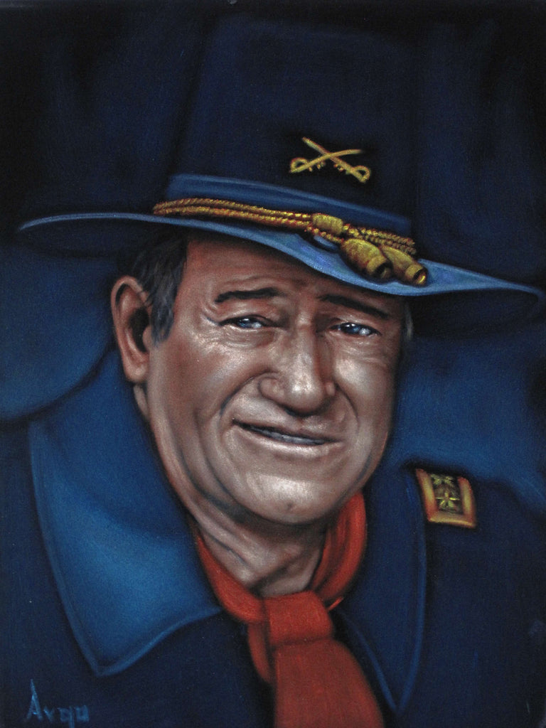 "Copy of John Wayne Portrait,  Original Oil Painting on Black Velvet by Alfredo Rodriguez ""ARGO"" - a480"