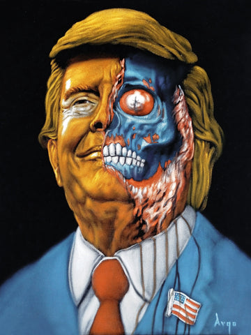 "Obey Zombie Donald J Trump, They Live Movie,  Original Oil Painting on Black Velvet by Alfredo Rodriguez ""ARGO"" - #A387"