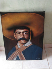 "Emiliano Zapata Salazar Mexican Revolution Original Oil Painting on Black Velvet by Alfredo Rodriguez ""ARGO""  - #A13"