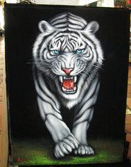 "Tiger, White Tiger, Siberian Bengal Tiger,  Original Oil Painting on Black Velvet by Alfredo Rodriguez ""ARGO""  - #A100"