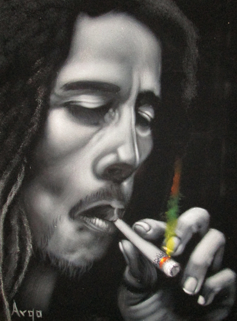 "Bob Marley Legend Portrait, Original Oil Painting on Black Velvet by Alfredo Rodriguez ""ARGO"" - #A91"