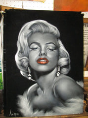 "Marilyn Monroe Portrait, Original Oil Painting on Black Velvet by Alfredo Rodriguez ""ARGO"" - #A102"