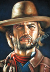 "Clint Eastwood, The Outlaw Josey Wales,  Original Oil Painting on Black Velvet by Alfredo Rodriguez ""ARGO""  - #A103"
