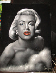 "Marilyn Monroe Portrait, Original Oil Painting on Black Velvet by Alfredo Rodriguez ""ARGO"" - #A108"