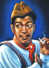 "Cantinflas Portrait,  Original Oil Painting on Black Velvet by Alfredo Rodriguez ""ARGO"" - #A109"