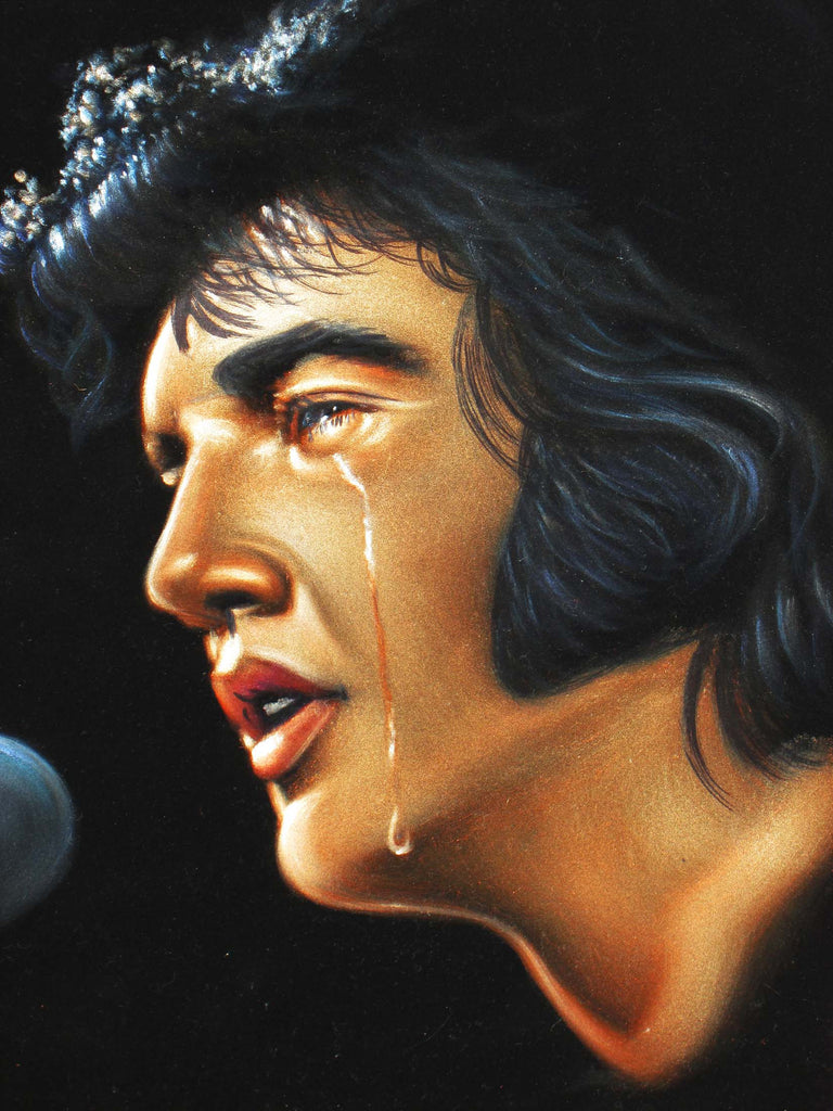 "Elvis Presley Portrait , Original Oil Painting on Black Velvet by Alfredo Rodriguez ""ARGO"" - #A111"