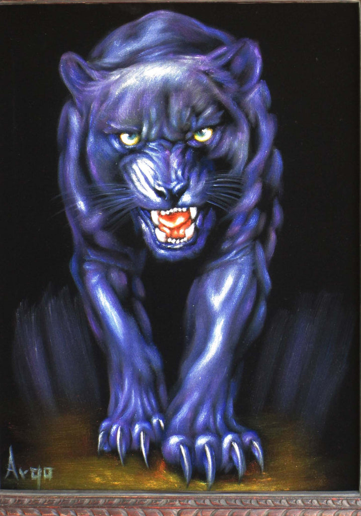 "Panther, Black Panther, cougar,  Original Oil Painting on Black Velvet by Alfredo Rodriguez ""ARGO""  - #A112"