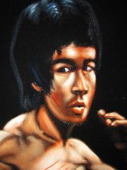 "Bruce Lee Portrait,  Original Oil Painting on Black Velvet by Alfredo Rodriguez ""ARGO""  - #A114"