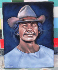 "Charles Bronson Portrait,  Original Oil Painting on Black Velvet by Alfredo Rodriguez ""ARGO""  - #A115"