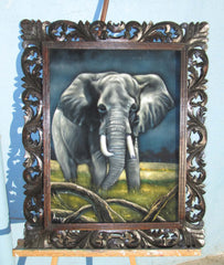 "Elephant,  Original Oil Painting on Black Velvet by Alfredo Rodriguez ""ARGO""  - #A118"