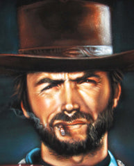"Clint Eastwood Spaghetti Western,  Original Oil Painting on Black Velvet by Alfredo Rodriguez ""ARGO""  - #A119"