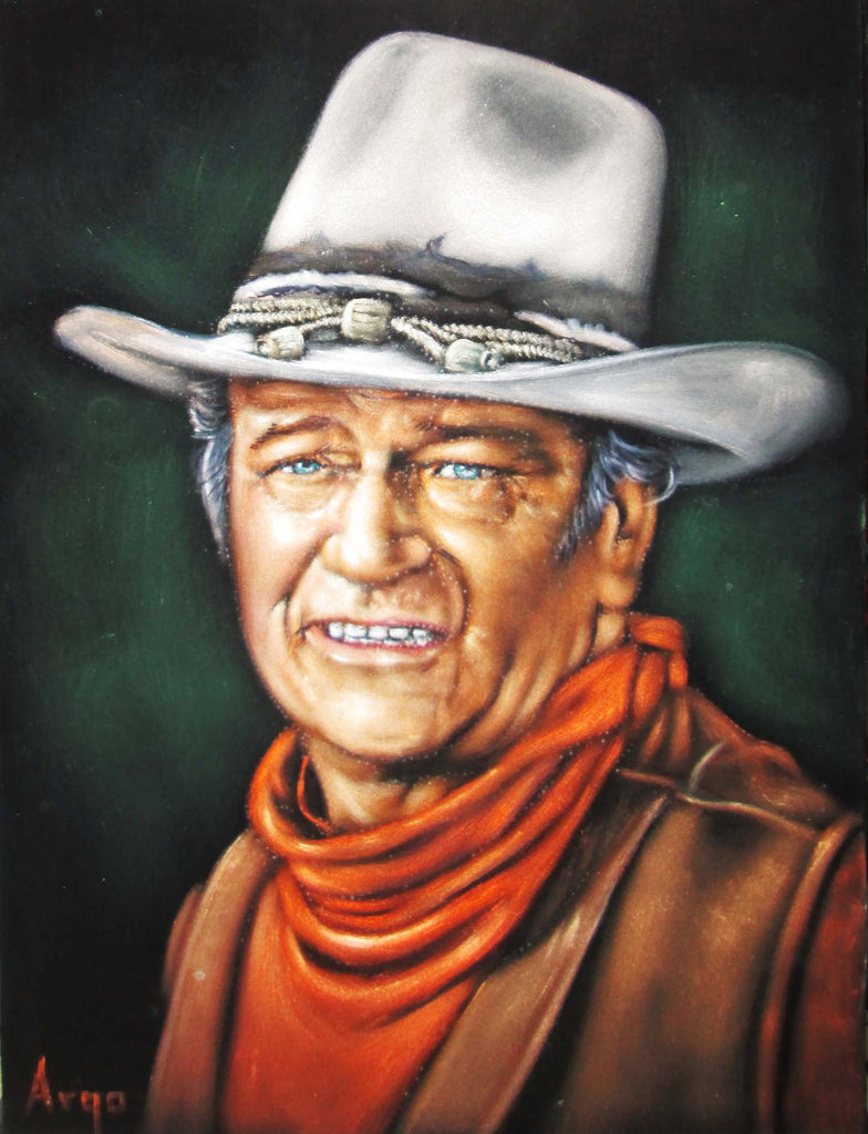 "John Wayne Portrait,  Original Oil Painting on Black Velvet by Alfredo Rodriguez ""ARGO"" - #A120"