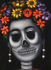 "Frida Kahlo Portrait, La Calavera Catrina Skull Original Oil Painting on Black Velvet by Alfredo Rodriguez ""ARGO"" - #A123"