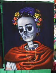 "Frida Kahlo Portrait, La Calavera Catrina Skull Original Oil Painting on Black Velvet by Alfredo Rodriguez ""ARGO"" - #A124"