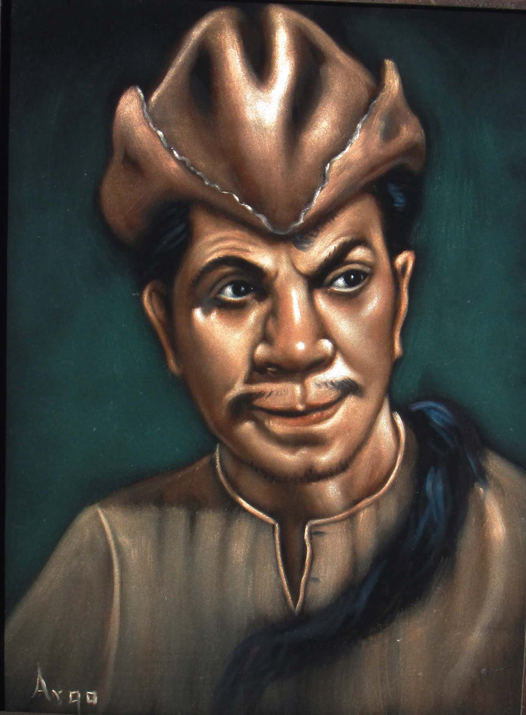 "Cantinflas Portrait,  Original Oil Painting on Black Velvet by Alfredo Rodriguez ""ARGO"" - #A125"