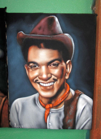 "Cantinflas Portrait,  Original Oil Painting on Black Velvet by Alfredo Rodriguez ""ARGO"" - #A126"