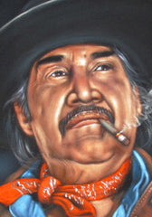 "Emilio Fernández Portrait,  Original Oil Painting on Black Velvet by Alfredo Rodriguez ""ARGO"" - #A127"