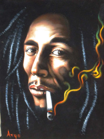 "Bob Marley Portrait, Original Oil Painting on Black Velvet by Alfredo Rodriguez ""ARGO"" - #A128"