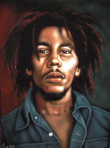 "Bob Marley Portrait, Original Oil Painting on Black Velvet by Alfredo Rodriguez ""ARGO"" - #A129"