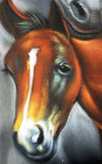 "Mare and Colt, Horse,  Original Oil Painting on Black Velvet by Alfredo Rodriguez ""ARGO""  - #A131"