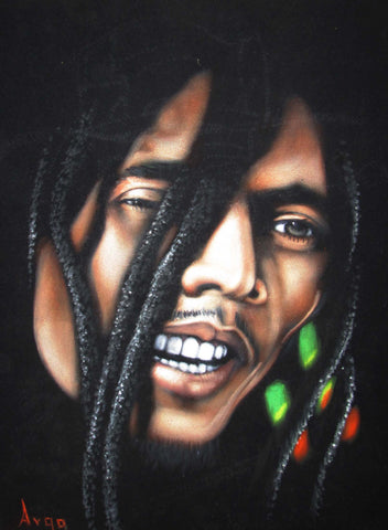 "Bob Marley Portrait, Original Oil Painting on Black Velvet by Alfredo Rodriguez ""ARGO"" - #A132"