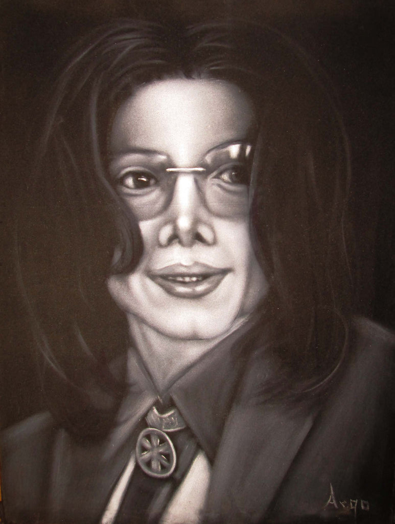 "Michael Jackson Portrait, Original Oil Painting on Black Velvet by Alfredo Rodriguez ""ARGO"" - #A134"