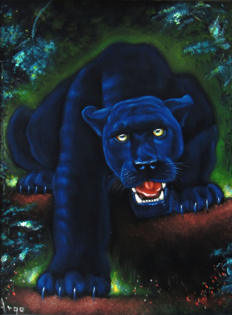 "Panther, Black Panther, cougar,  Original Oil Painting on Black Velvet by Alfredo Rodriguez ""ARGO""  - #A135"