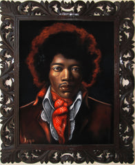 "Jimi Hendrix Portrait,  Original Oil Painting on Black Velvet by Alfredo Rodriguez ""ARGO"" - #A136"