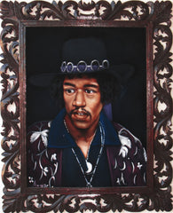"Jimi Hendrix Portrait,  Original Oil Painting on Black Velvet by Alfredo Rodriguez ""ARGO"" - #A137"
