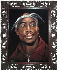 "Tupac Shakur Portrait , Original Oil Painting on Black Velvet by Alfredo Rodriguez ""ARGO"" - #A138"
