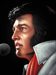 "Elvis Presley Portrait , Original Oil Painting on Black Velvet by Alfredo Rodriguez ""ARGO"" - #A139"