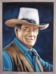 "John Wayne Portrait,  Original Oil Painting on Black Velvet by Alfredo Rodriguez ""ARGO"" - #A140"