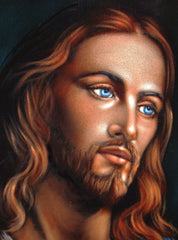 "Jesus Christ Portrait,  Original Oil Painting on Black Velvet by Alfredo Rodriguez ""ARGO"" - #A141"