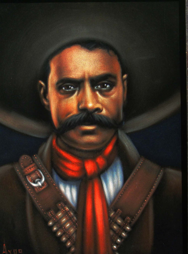 "Emiliano Zapata Portrait,  Original Oil Painting on Black Velvet by Alfredo Rodriguez ""ARGO"" - #A142"