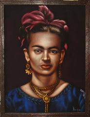 "Frida Kahlo Portrait,  Original Oil Painting on Black Velvet by Alfredo Rodriguez ""ARGO"" - #A143"