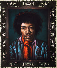 "Jimi Hendrix Portrait,  Original Oil Painting on Black Velvet by Alfredo Rodriguez ""ARGO"" - #A146"