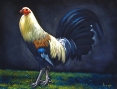 "Rooster, cockerel, cock, gallo, Original Oil Painting on Black Velvet by Alfredo Rodriguez ""ARGO"" - #A147"