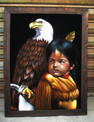 "Indian child with eagle,  Original Oil Painting on Black Velvet by Alfredo Rodriguez ""ARGO"" - #A150"