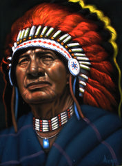 "Indian chief,  Original Oil Painting on Black Velvet by Alfredo Rodriguez ""ARGO"" - #A151"