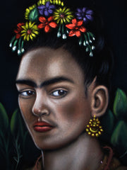 "Frida Kahlo Portrait,  Original Oil Painting on Black Velvet by Alfredo Rodriguez ""ARGO"" - #A152"