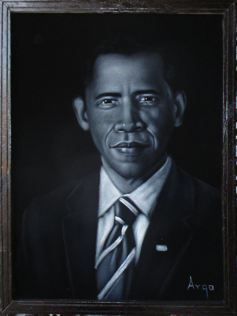 "Barack Obama Portrait, President of United States, Original Oil Painting on Black Velvet by Alfredo Rodriguez ""ARGO"" - #A154"