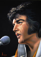 "Elvis Presley Portrait , Original Oil Painting on Black Velvet by Alfredo Rodriguez ""ARGO"" - #A157"