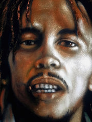 "Bob Marley Portrait, Original Oil Painting on Black Velvet by Alfredo Rodriguez ""ARGO"" - #A160"