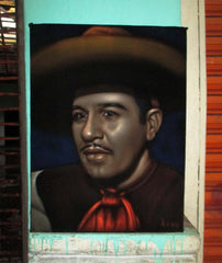 "Pedro Infante Portrait, Original Oil Painting on Black Velvet by Alfredo Rodriguez ""ARGO"" - #A161"