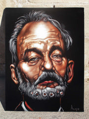 "Bill Murray Portrait, Original Oil Painting on Black Velvet by Alfredo Rodriguez ""ARGO"" - #A165"