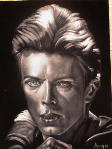 "David Bowie Portrait,  Original Oil Painting on Black Velvet by Alfredo Rodriguez ""ARGO"" - #A166"